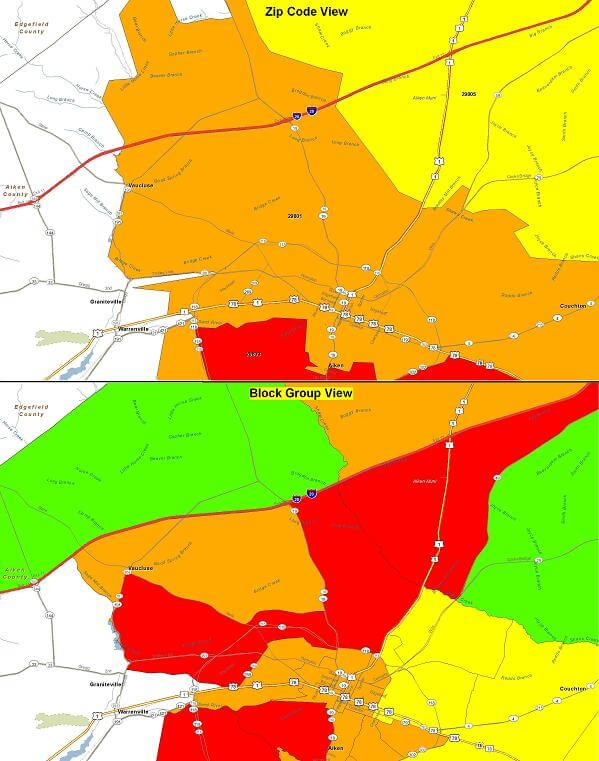 Visually Target Your Best Customers: Block Group vs. Zip Code-Level on distance heat map, education heat map, neighborhood heat map, industry heat map, state heat map, mobile heat map, company heat map, subject heat map, build a heat map, county heat map, keyword heat map, organization heat map, web site heat map,